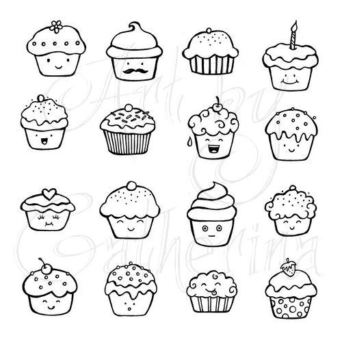 500x500 Cute Cupcake Doodles