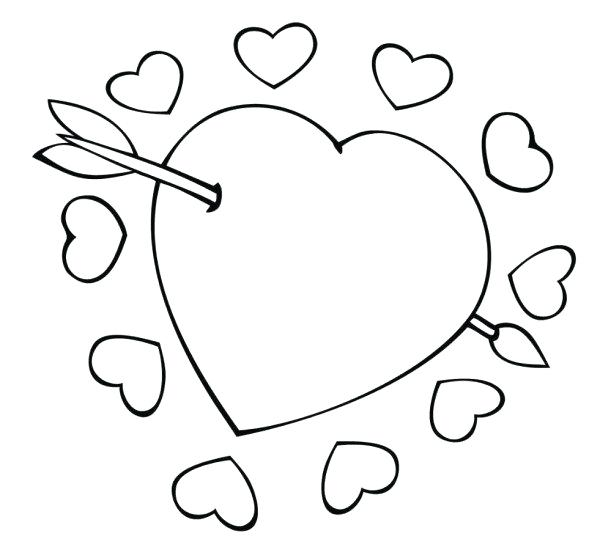 600x550 Cupid Coloring Pages Cupid Arrow Through The Heart Valentine