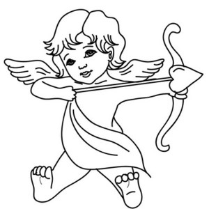 300x300 Cute Big Eyed Baby Cupid Coloring Page Coloring Sun