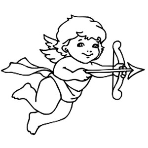 300x300 Cute Cupid Shoot an Arrow of Love Coloring Page Coloring Sun
