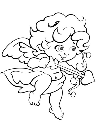 371x480 Cute Valentine Cupid coloring page Free Printable Coloring Pages
