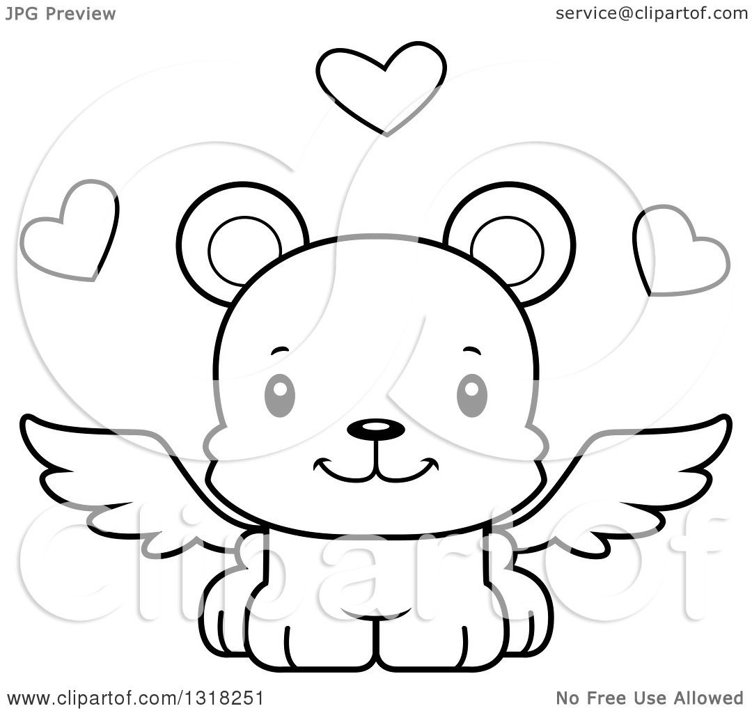 1080x1024 Animal Lineart Clipart of a Cartoon Black and White Cute Happy