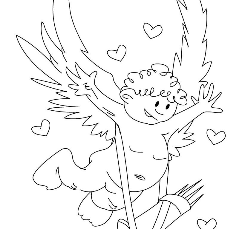 820x768 Valentines Day Cupid Coloring Page Free Printable Pages For Kids