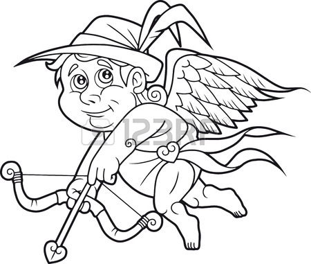 450x381 Cartoon Cute Cupid Flies In Search Of A Target Royalty Free