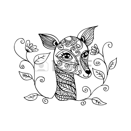 450x450 Cartoon Cute Deer Coloring Page Vector Illustration Royalty Free