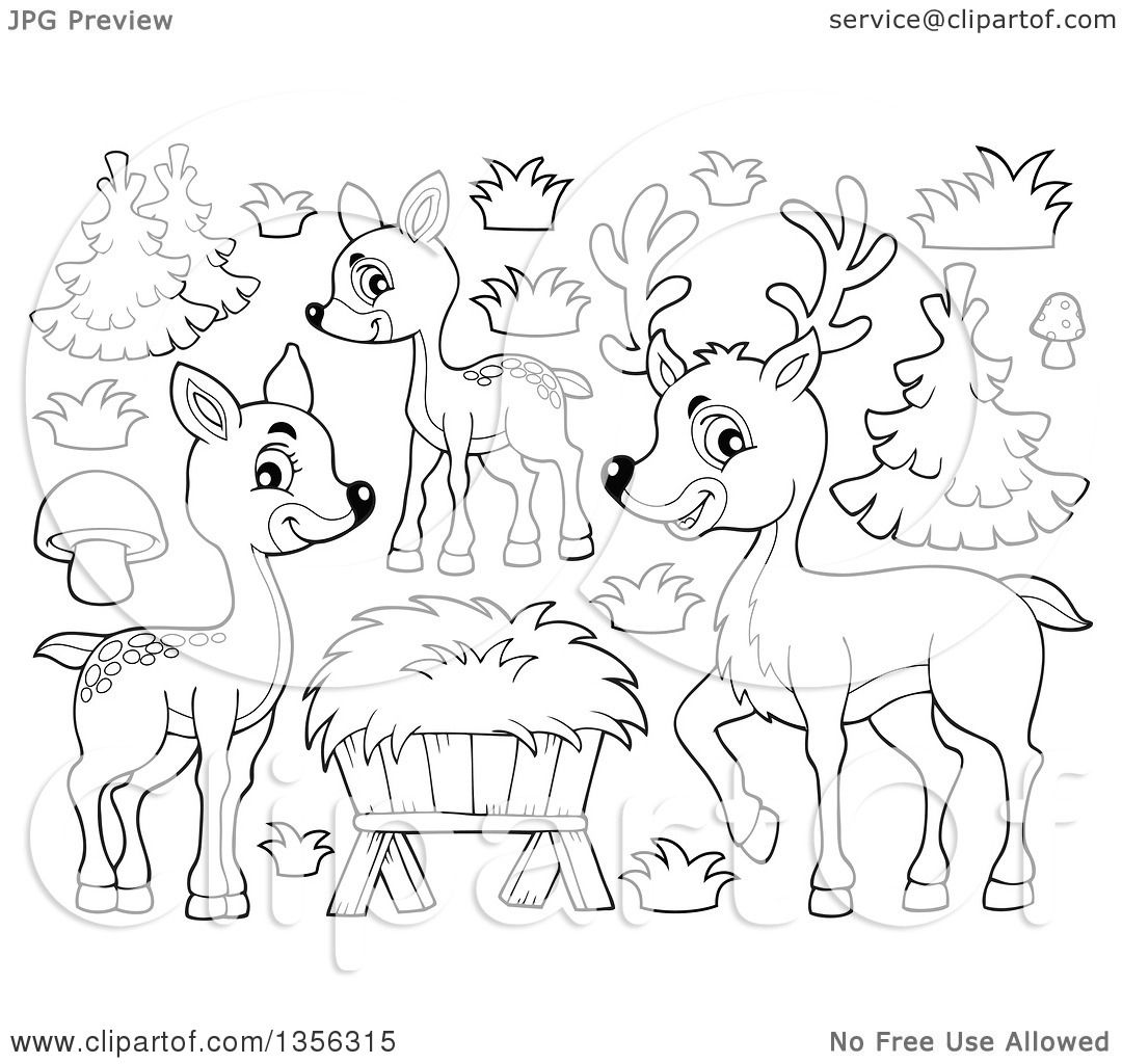 1080x1024 Clipart of a Cartoon Black and White Cute Deer Family, Trees and