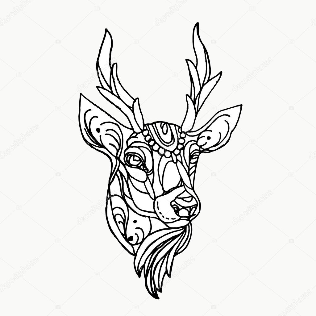 1024x1024 Deer On A White Background. Deer Tattoo. Cartoon Deer. Deer