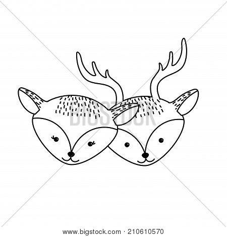 450x470 Line Cute Deer Head Animal Couple Vector Amp Photo Bigstock