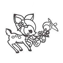 210x210 cute deer stamp with birdy kawaii Japan