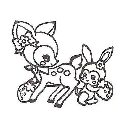 500x500 cute deer stamp with bunny kawaii Japan