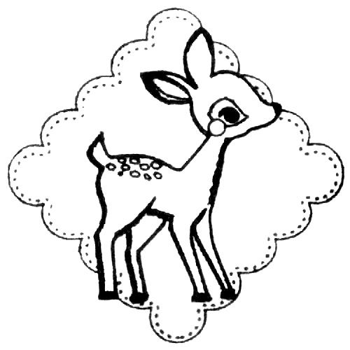 500x500 Cute Deer Stamp With Ornament Kawaii