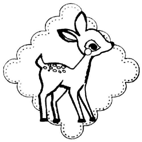 500x500 cute deer stamp with ornament kawaii