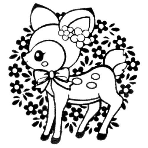 500x500 cute deer stamp with ribbon flowers kawaii Japan self made stamp