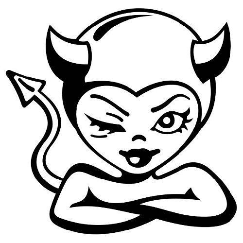 500x500 Cute Devil Winking Decal Sticker 5.5 Inches Premium Quality
