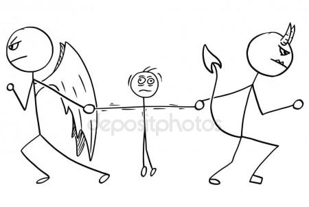 450x302 Cute angel and devil doodle — Stock Vector © zsooofija