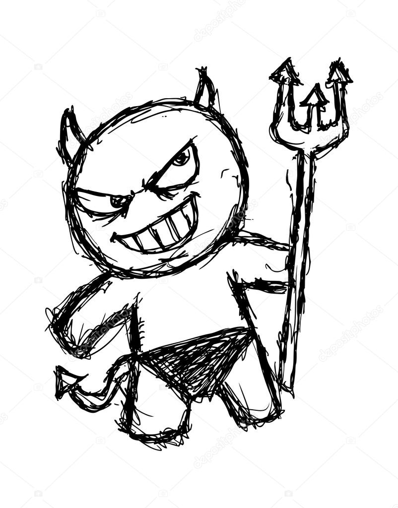 802x1024 Cute devil in doodle style — Stock Vector © mhatzapa