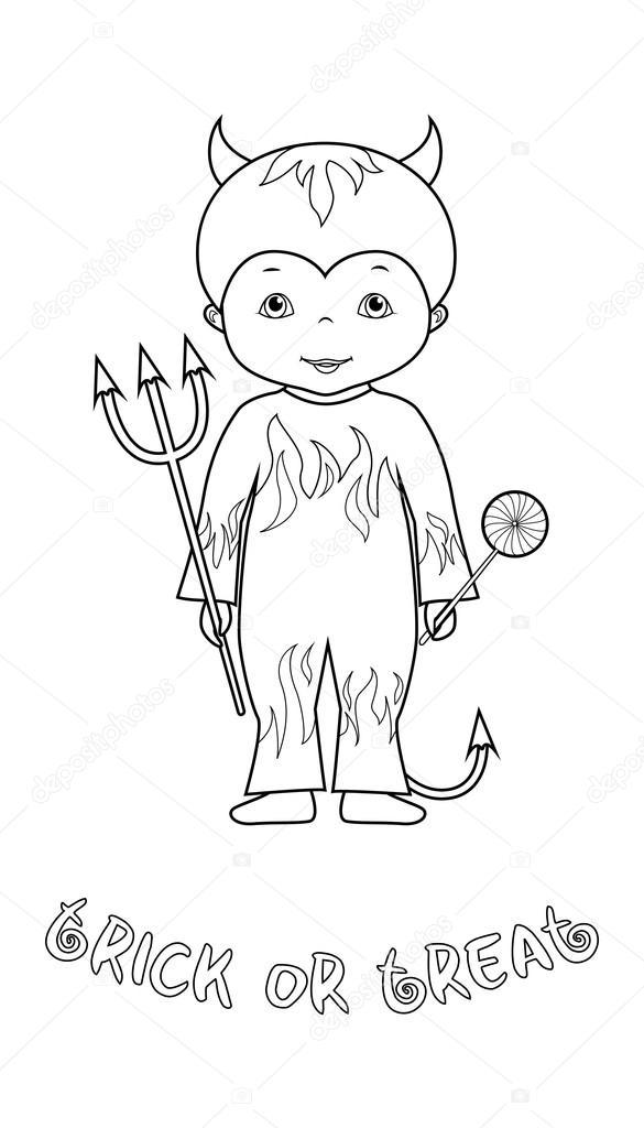 585x1024 Halloween coloring page with cute devil — Stock Vector © o
