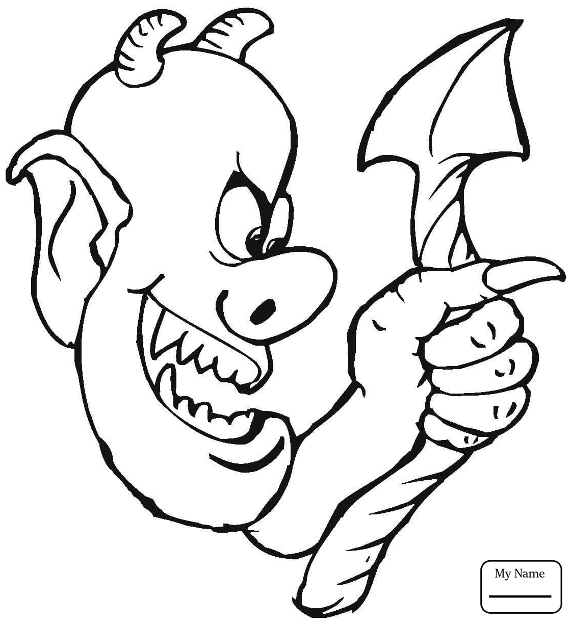 1122x1224 coloring pages Cute Little Devil Holding up a Pitchfork demons