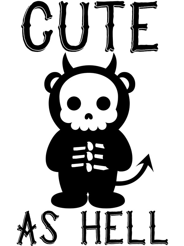 600x800 Cute As Hell Skeleton Devil Panda T Shirt Art Prints by bitsnbobs