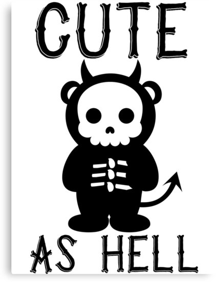 422x550 Cute As Hell Skeleton Devil Panda T Shirt Canvas Prints by