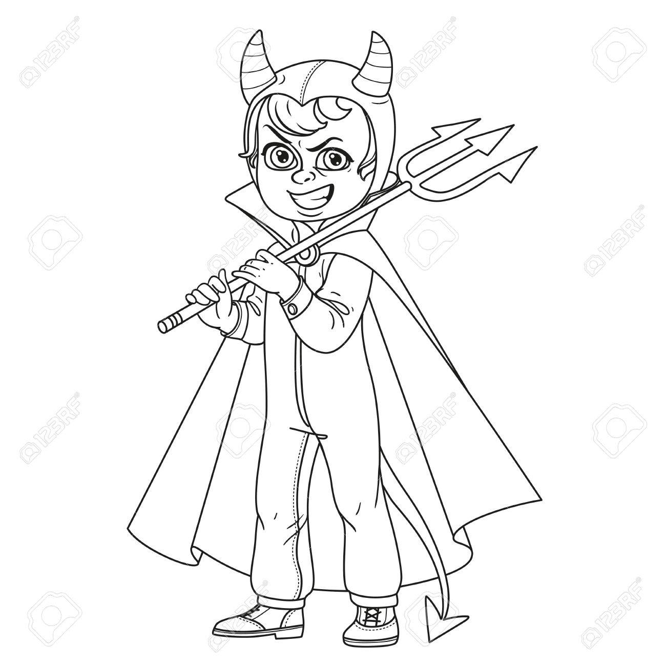 1300x1300 Cute Boy In Overalls Devil Costume With A Trident In His Hand