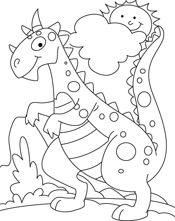 560x708 Cute Dinosaur Coloring Pages For Kids Funny Draw Photo Printable