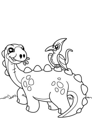 371x480 Cute Dinosaur With Pteranodon Coloring Page Free Printable