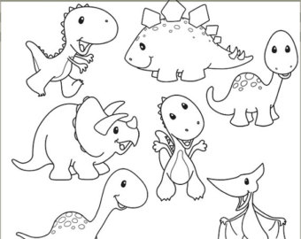 340x270 Dinosaur Clipart Line Drawing