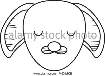 442x320 Dog Face Icon Over White Background. Black And White Design