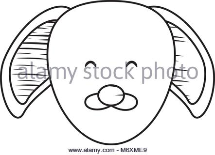 442x320 Sketch Of Cute Puppy Icon Over White Background, Vector