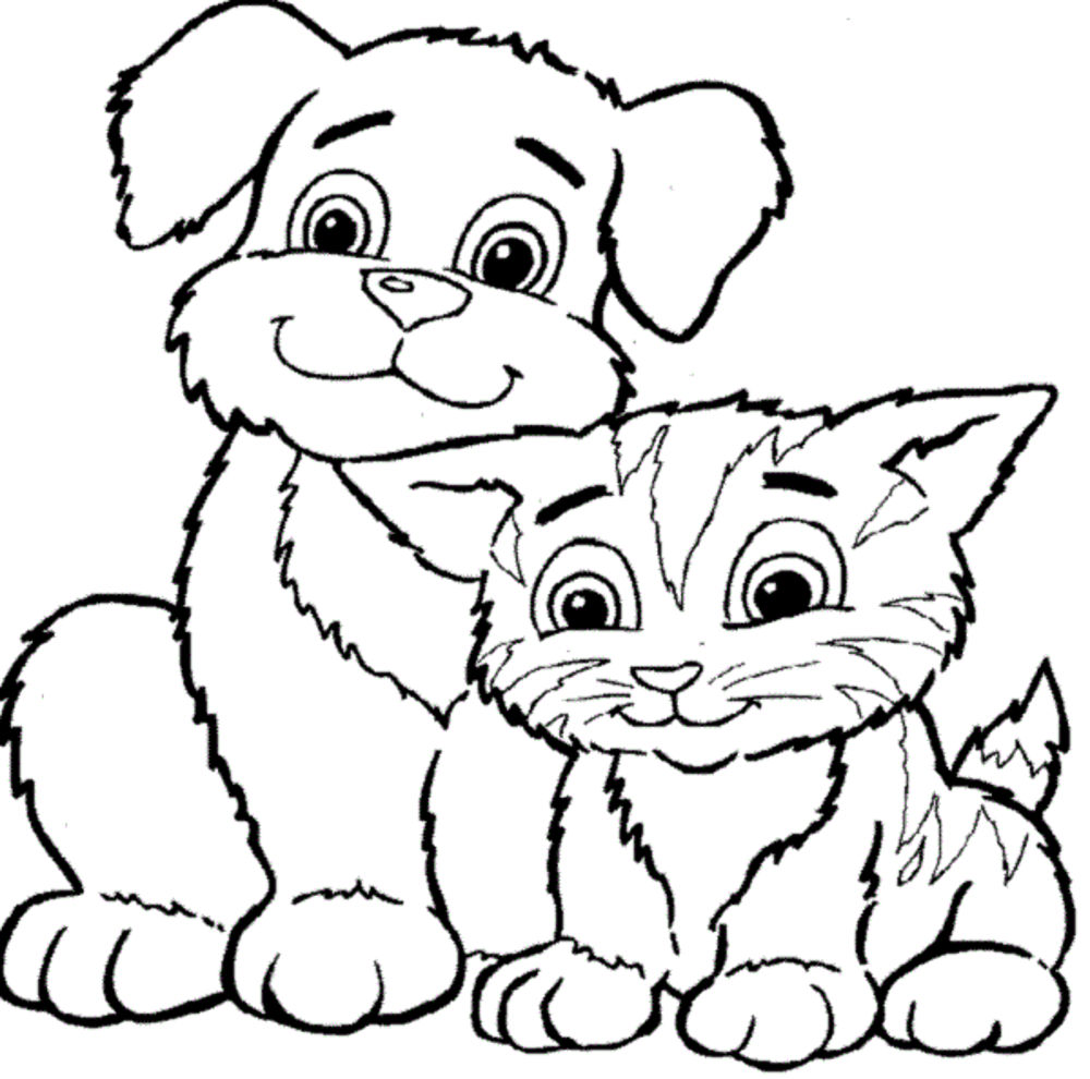 1000x990 Coloring Dog And Cat Faces Christmas Coloring Pages Cat And Dog
