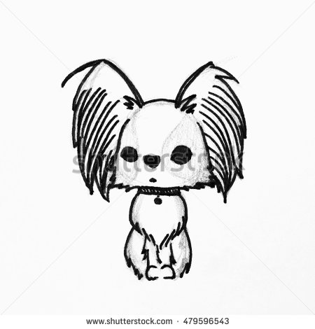 450x470 Cute Cartoon Dog, Hand Drawing Of Papillon Dog Or Butterfly Dog