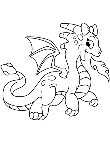Image of: Fun2draw 371x480 Cute Dragon Breathing Fire Coloring Page Free Printable Coloring Getdrawingscom Cute Dragon Drawing At Getdrawingscom Free For Personal Use Cute