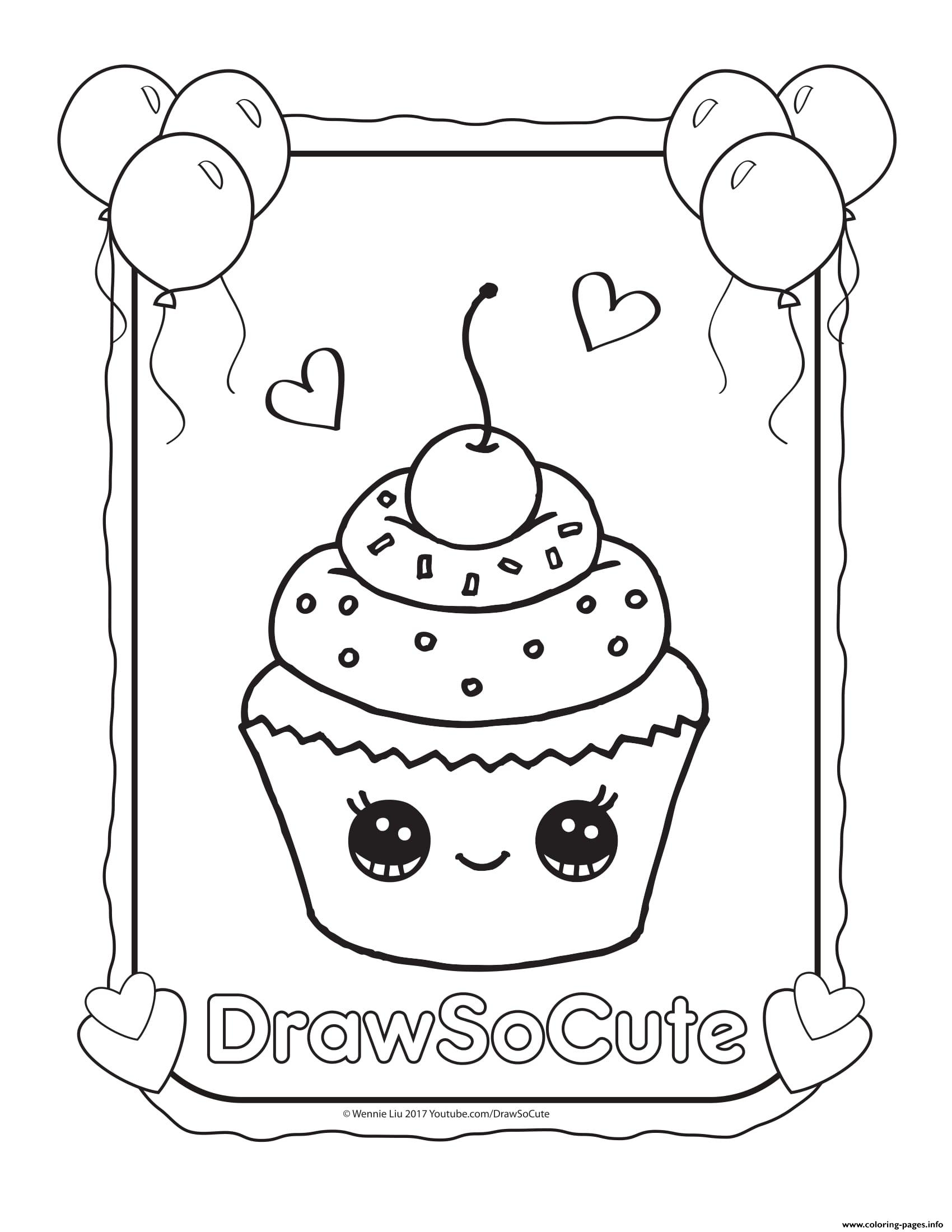 1700x2200 Cupcake Draw So Cute Coloring Pages Printable