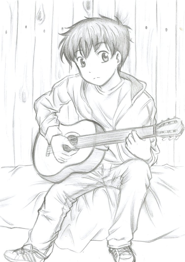 752x1063 My Boyfriend Playing Guitar. By Flodoyle