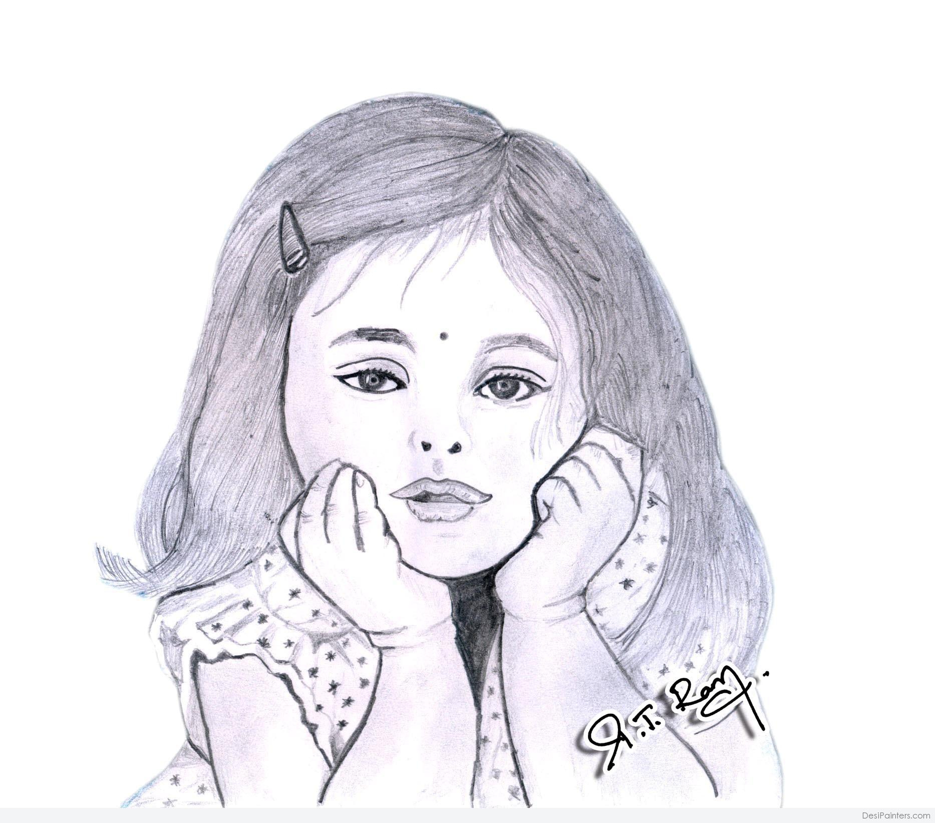 1867x1644 Cute Girl Pencil Drawing