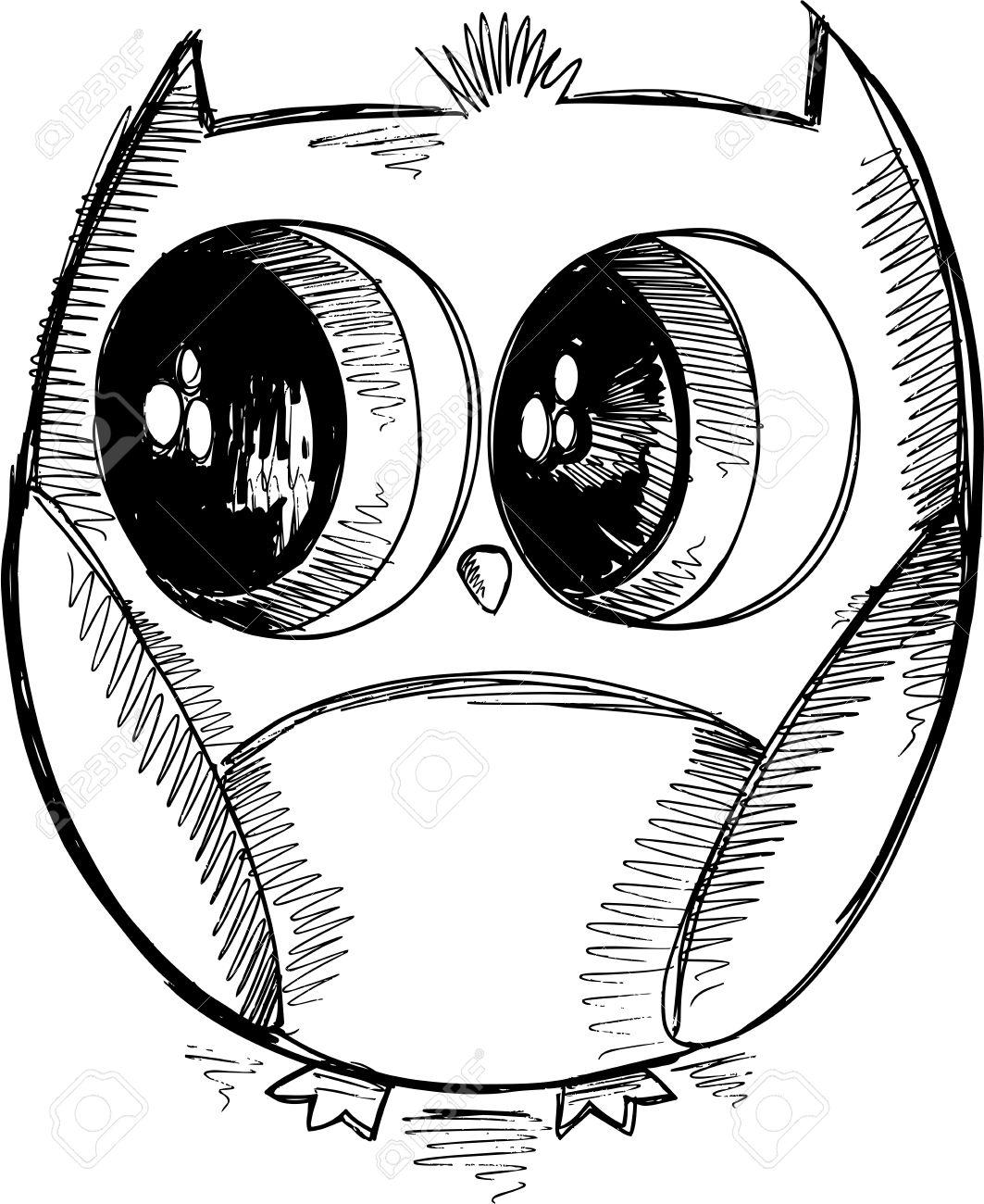 1063x1300 Cute Owl Sketch Doodle Vector Royalty Free Cliparts, Vectors,