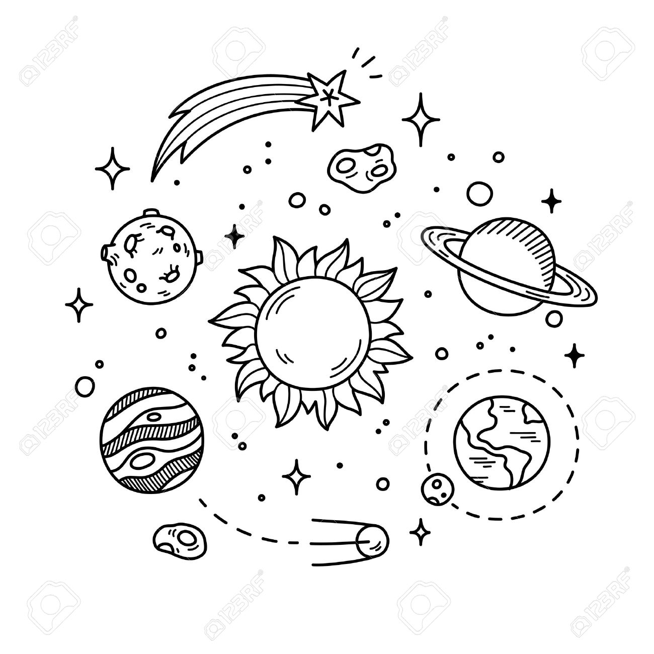 1300x1300 Hand Drawn Solar System With Sun, Planets, Asteroids And Other