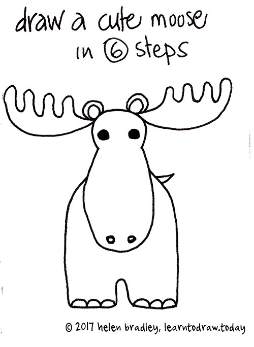 500x684 How To Draw A Cute Moose In 6 Steps Learn To Draw