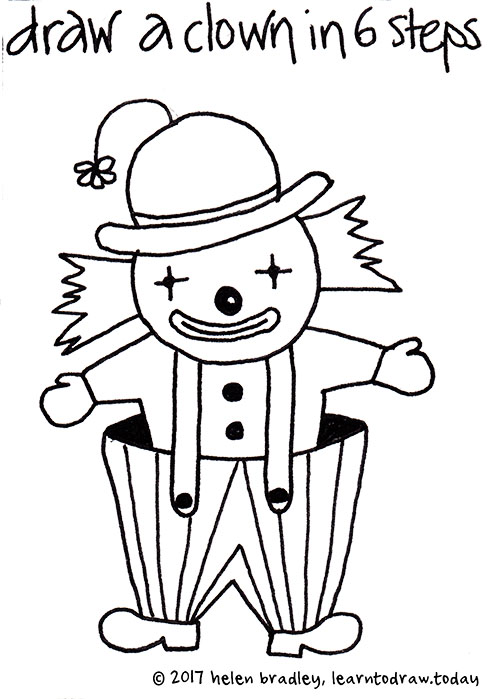 500x699 How To Draw A Cute Clown In Six Steps Learn To Draw