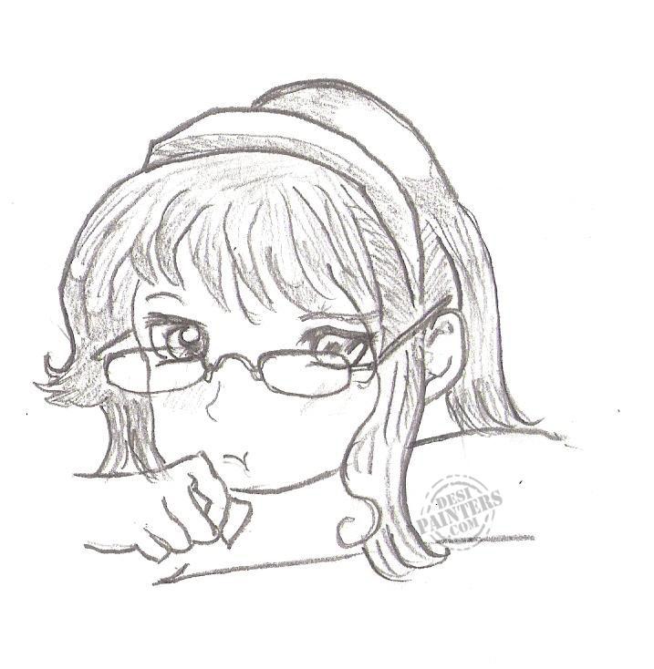 717x734 Pencil Sketch Of Cute Girl