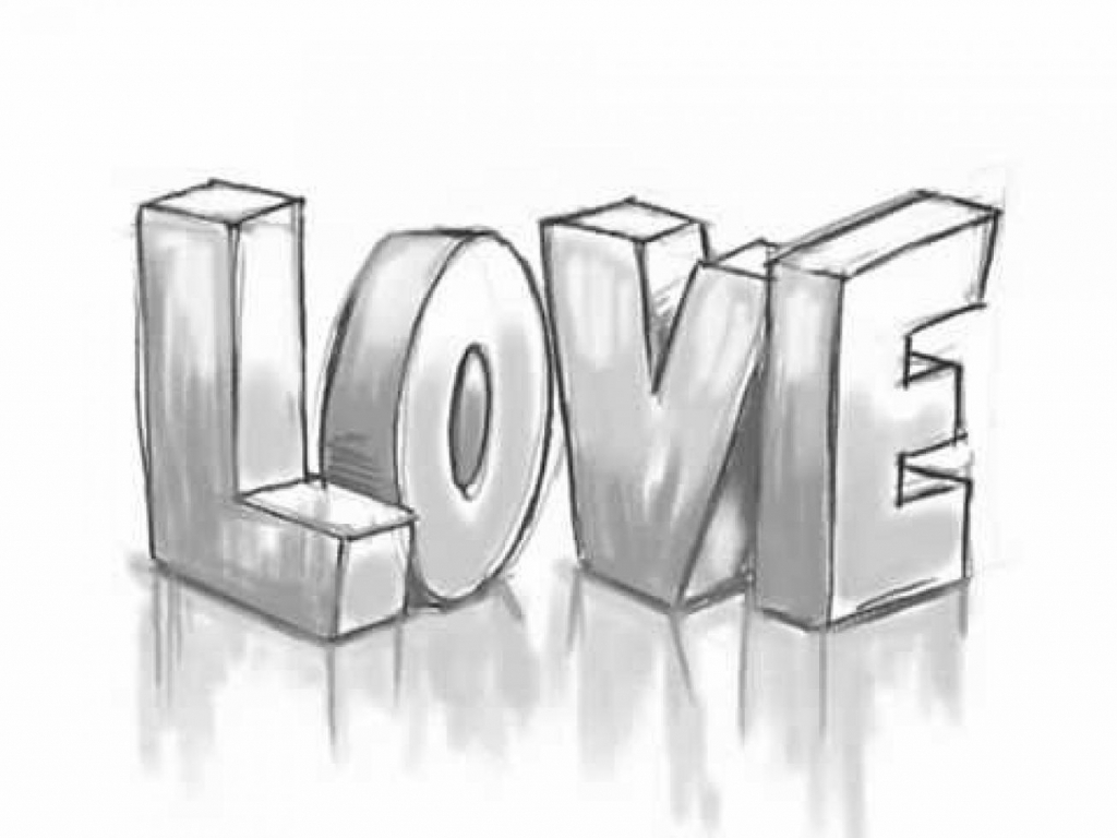 1024x768 Cute Love Drawings For Your Boyfriend How To Draw 3d Love Graffiti