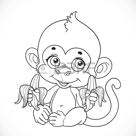 450x450 Cute Baby Monkey With Banana Hanging On The Liana Outlined