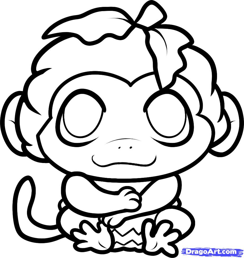 923x975 Cute Drawings Of Monkeys How To Draw A Halloween Monkey, Halloween