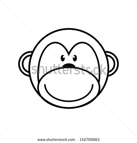 450x470 Cute Monkey Outline Drawing Monkey Outlines Cute cats