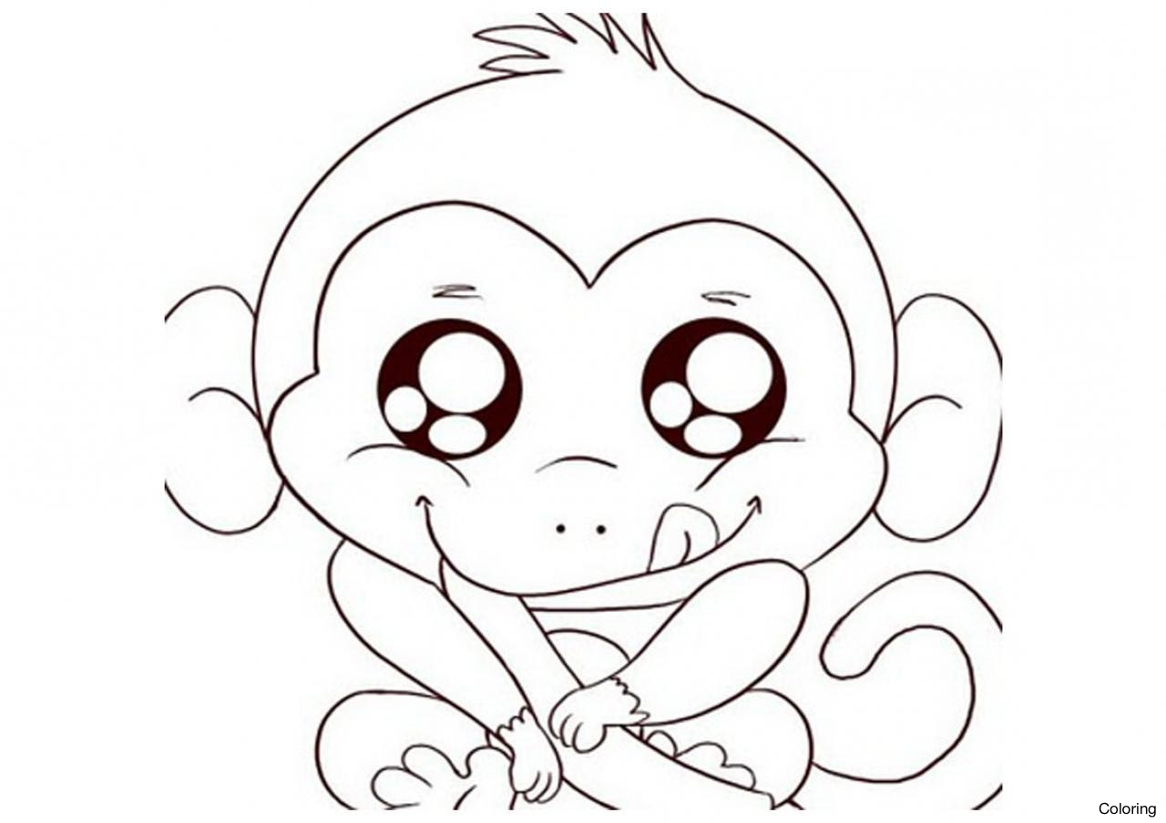 1280x904 Drawings Of Monkeys Coloring Baby In Trees For Kids Diaiz