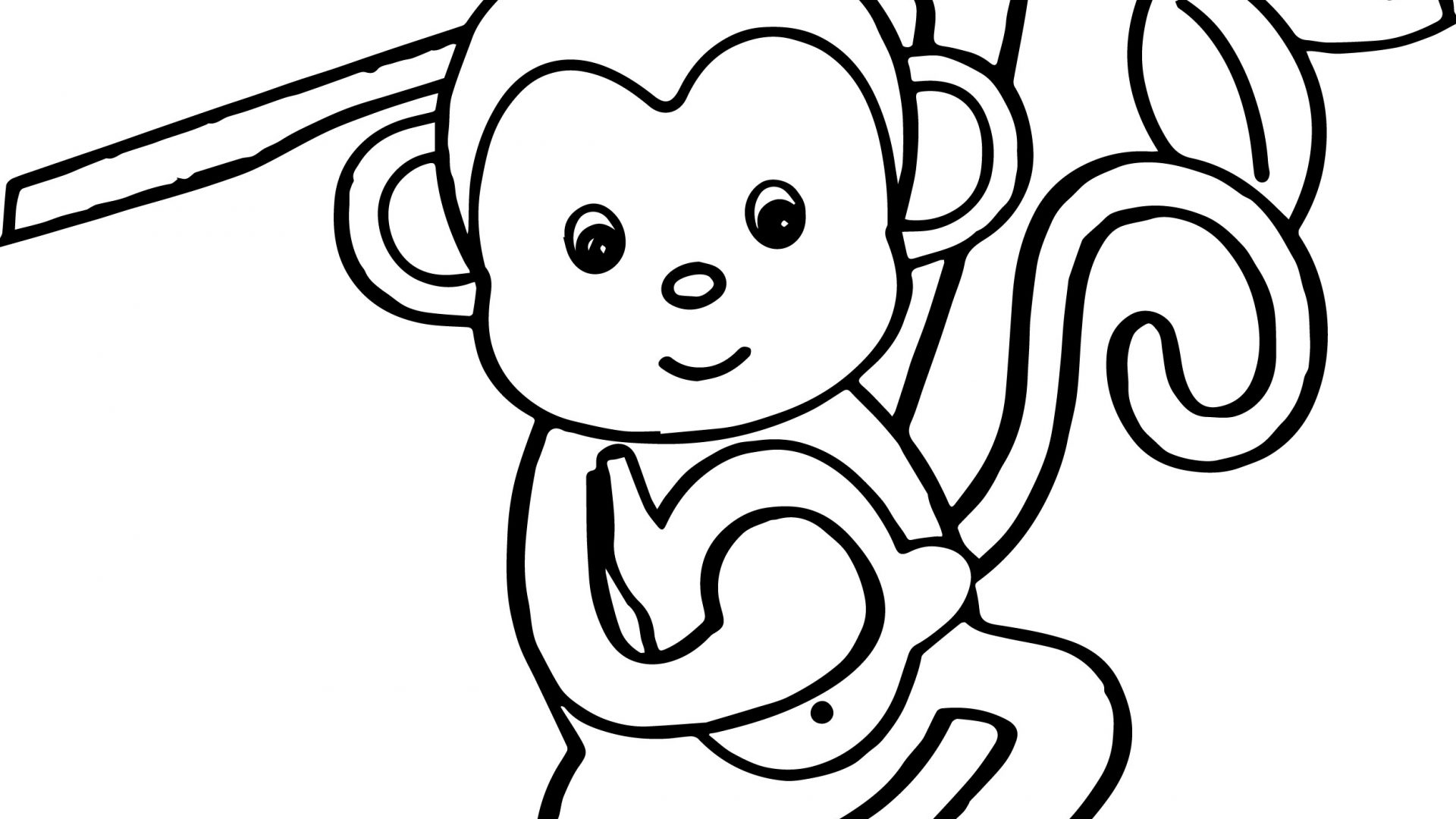 1920x1080 Free Printable Cute Monkey Coloring Pages For Toddler Page Animals