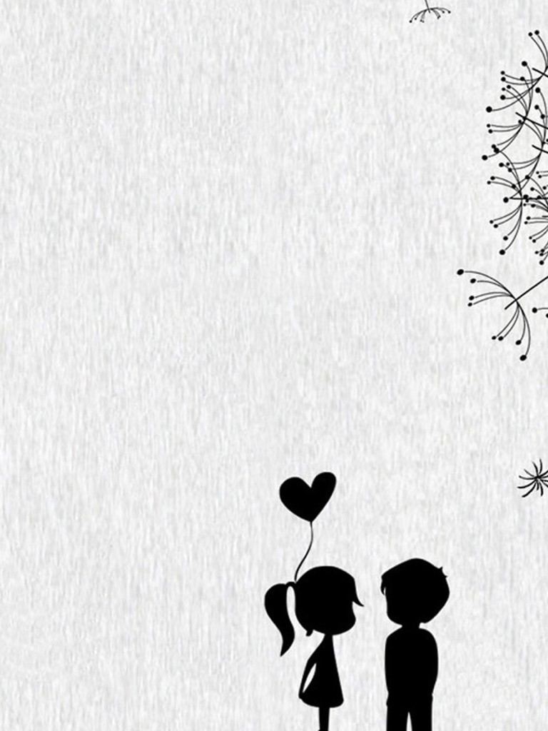 768x1024 Pictures Cute Drawing Couple Wallpaper,