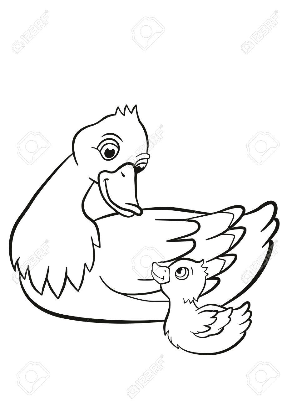 919x1300 Coloring Pages. Kind Duck And Little Cute Duckling Swim On