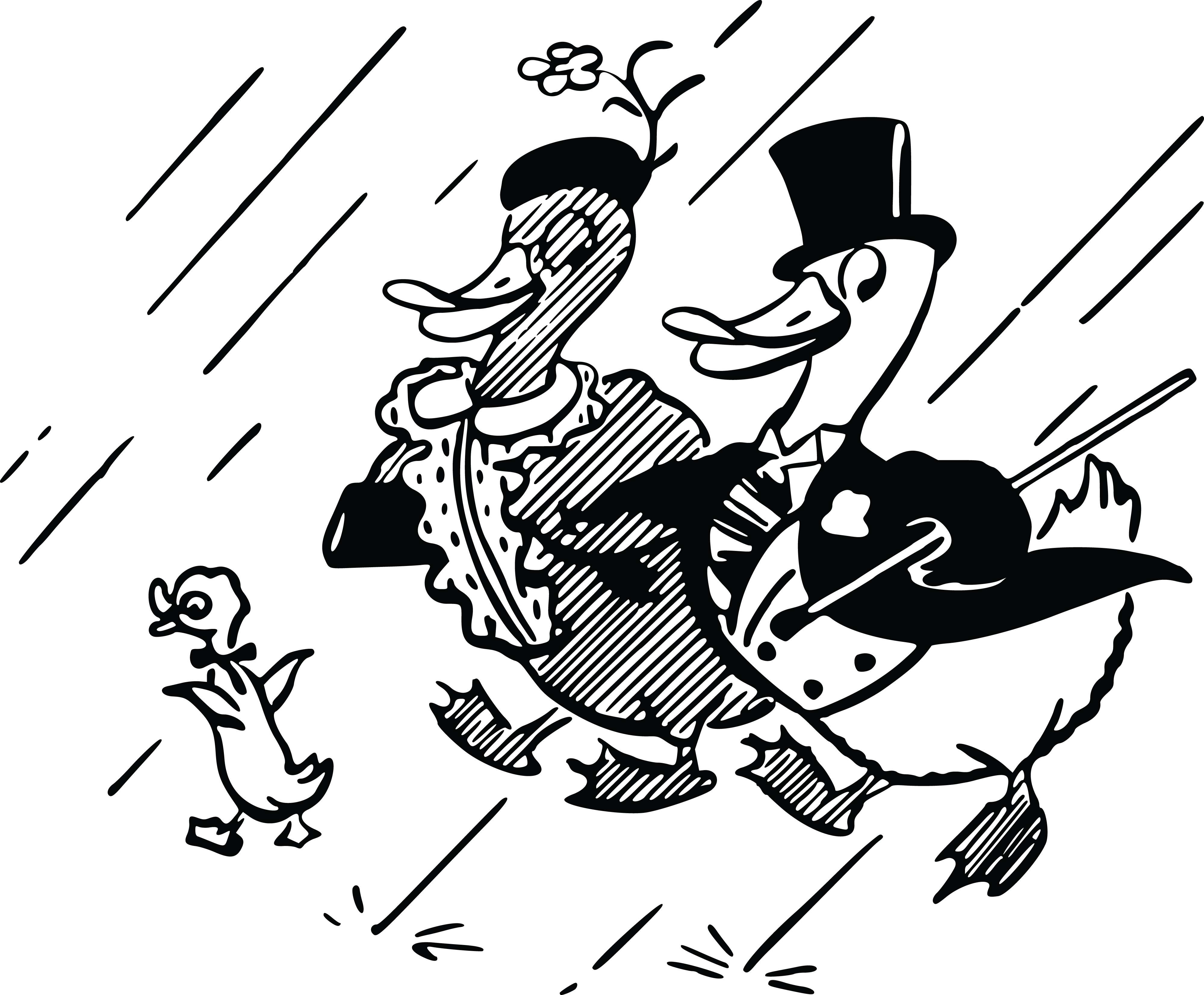 4000x3305 Clipart Of A Cute Duck Family In The Rain
